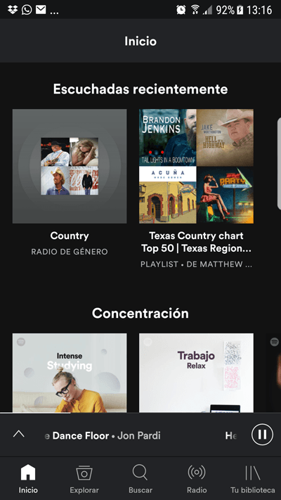 Emisoras de música country - Spotify menu