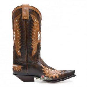 Botas Cowboy - Country and Roses -sendra-cuero-marron-con-aguila-tricolor