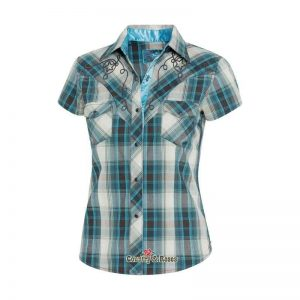 Ropa Country - Country and Roses - Blusa a cuadros con bordados para mujer Josie