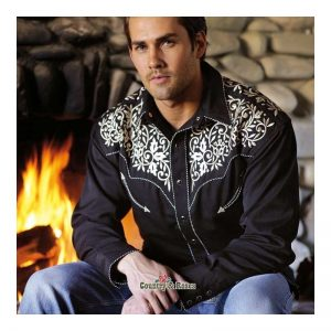 Ropa Country - Country and Roses - camisa-negra-con-bordados-para-hombre-henry