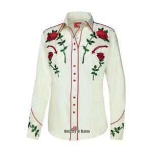 Camisa de mujer con rosas bordadas Taylor
