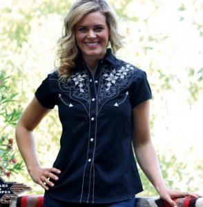 Camisa western negra manga corta Star & Stripes para mujer con flores bordadas