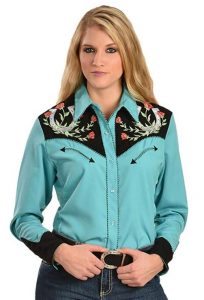 Ropa Country - Amazon.com - Scully Women's Horseshoe Embroidered Retro Western Shirt