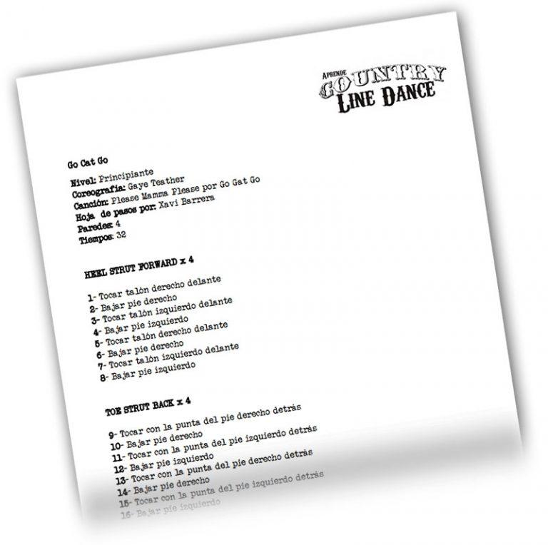 Enseñar a bailar Aprende Country Line Dance - Hoja de pasos