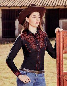 2cfbd11154 Ropa Country - Corbettos - Camisa negra Ranger s para mujer estilo charro  con recamado rojo 78